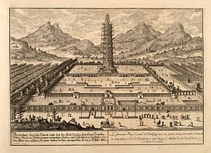 Treasure voyages - The Great Bao'en Temple as depicted in Fischer von Erlach's A Plan of Civil and Historical Architecture (1721)