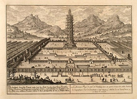 The Great Bao'en Temple as depicted in Fischer von Erlach's A Plan of Civil and Historical Architecture (1721) Nanking Erlach.jpg