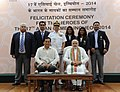 Narendra Modi with the medal winners of the 17th Asian Games, Incheon 2014, in New Delhi. The Chief of Naval Staff, Admiral R.K. Dhowan and the Minister of State for Skill Development, Entrepreneurship.jpg