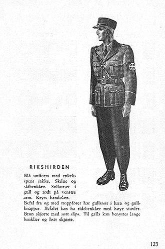 Hirden - Image: Nasjonal Samling NS Aarbok 1944 s 123 (uniformer) Rikshirden