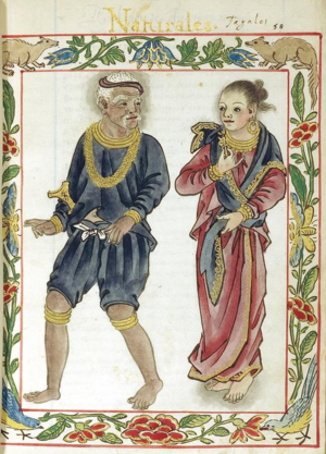 Tagalog people - A Maginoo (noble class) couple, both wearing blue-coloured clothing articles (blue being the distinctive colour of their class).
