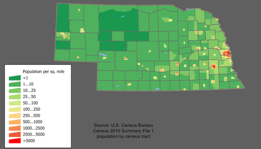 Population density in Nebraska Nebraska population map.png
