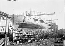 The hull of a ship near completion