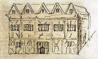 New Place - New Place sketched by George Vertue from contemporary descriptions when he visited Stratford-on-Avon in 1737