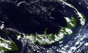 New Britain - New Britain from space, June 2005. Clearly visible are ash plumes from Langila and Ulawun volcanoes
