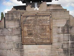 Newport Bridge, Newport - Foundation plaque, 1927, Newport Bridge, Newport