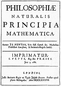 Title page of the 1st edition of Newton's work defining the laws of motion.