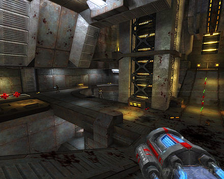 In games with 3D computer graphics like Nexuiz, the levels are designed as three-dimensional spaces Nexuiz screenshot 05.jpg