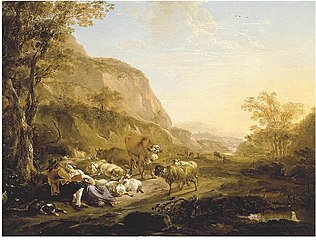 Southern Landscape with embracing Herders