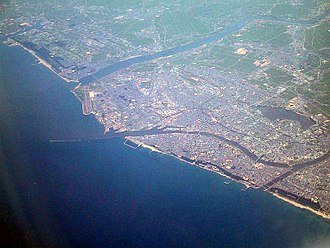 Shinano River - River mouths in Niigata City – from the top: Agano River; Shinano River; Sekiya diversion channel