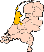Map: Province of North Holland in the Netherlands