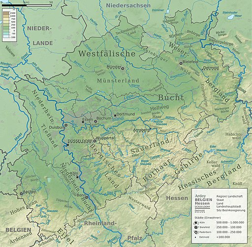 North Rhine-Westphalia topographic map 02