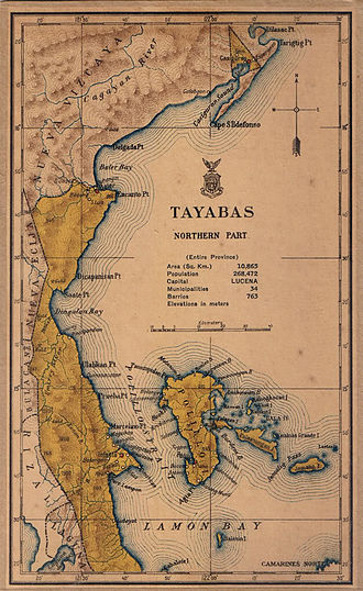 Aurora (province) - Image: Northern Tayabas province 1918 map