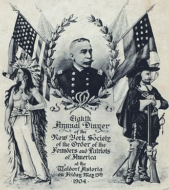 Order of the Founders and Patriots of America - A menu cover from the 1904 general court of the OFPA features the portrait of Admiral George Dewey, then the society's governor-general.