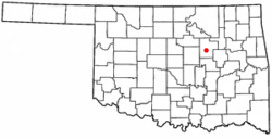 Location of Bristow, Oklahoma
