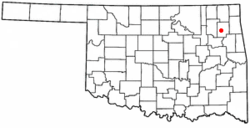 Location of Pryor Creek within Oklahoma