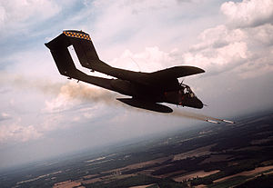 21st Tactical Air Support Squadron - A 21st TASS OV-10A firing phosphorus rockets, in 1989.