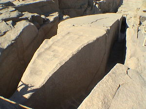 "Obelisk making technology in ancient Egypt - Tip of the unfinished obelisk with clearly identifiable ""scallop"" marks"