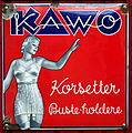 Old Danish enamel advertising sign, KAWO Korsetter (red).JPG