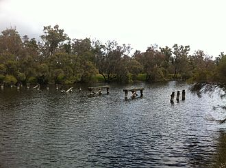 Blackwood River - Old Trigwell Bridge ruins near Moodiarrup on the Blackwood River