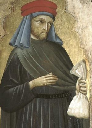 Money bag - Saint Homobonus' (died 1197) attributes include a bag of money