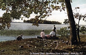 Frenchman Island - Picnicking on Dunhams Island with Frenchman Island in distance, c. 1910.