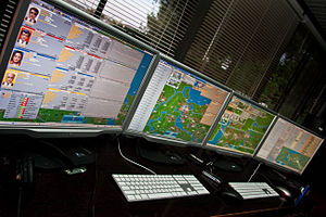 Transport Tycoon - OpenTTD network game across 4 monitors
