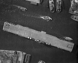 USS Franklin (CV-13) - The newly commissioned Franklin departing Norfolk in February 1944