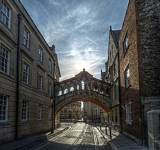 Bridge of Sighs (Oxford) - Looking through Hertford Bridge towards the Sheldonian Theatre