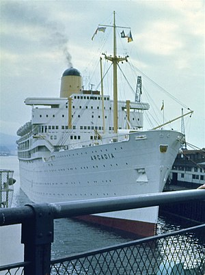 SS Arcadia (1953) - Image: P&O ship SS Arcadia docked in Vancouver in 1974