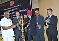 P. Radhakrishnan lighting the lamp to inaugurate the international conference on `Road Safety Scenario in India and Way Forward', organised by Indian Roads Congress, in New Delhi on November 28, 2014.jpg
