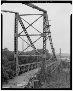 PERSPECTIVE VIEW OF BRIDGE FROM EAST END - Dresden Suspension Bridge, Spanning Muskingum River on State Route 208, Dresden, Muskingum County, OH HAER OHIO,60-DRES,1-4.tif