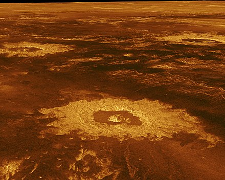 Impact craters on the surface of Venus (false-colour image reconstructed from radar data) PIA00103 Venus - 3-D Perspective View of Lavinia Planitia.jpg