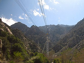 Palm Springs Aerial Tramway - Looking up towards the Mountain Station from the Valley Station