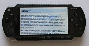 English: The PSP Web Browser on a PSP-1000, sh...