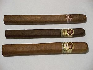 From top to bottom: a regular Padrón cigar; a ...
