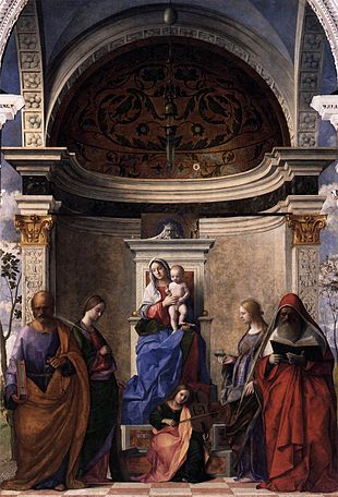 Oil painting. A large altarpiece in which the Madonna sits on a raised throne, with four saints and an angel as described in the article.
