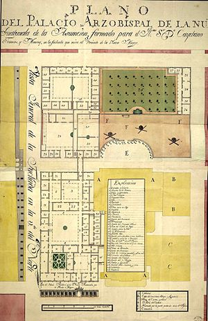 Cathedral of Guatemala City - Archbishop palace blueprint from 1779, presented to bishop Cayetano Francos y Monroy for approval.