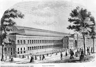 International Exposition of Electricity - Palais de l'Industrie in 1855, site of the International Exposition of Electricity 1881