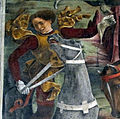Palazzo schifanoia, salone dei mesi, 03 marzo (f. del cossa), borso alla caccia e amministrat. di giustizia 08 cavaliere 2.jpg