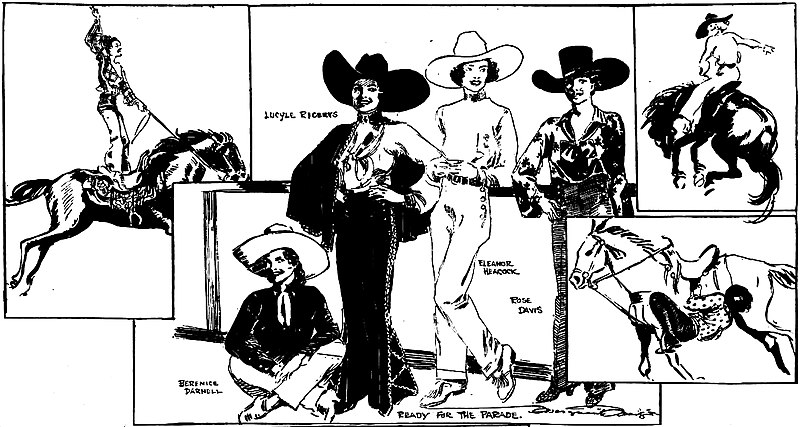 File:Panel of four women rodeo riders drawn by Marguerite Martyn, 1933.jpg