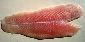 English: Pangasius hypothalamus meat in a Germ...