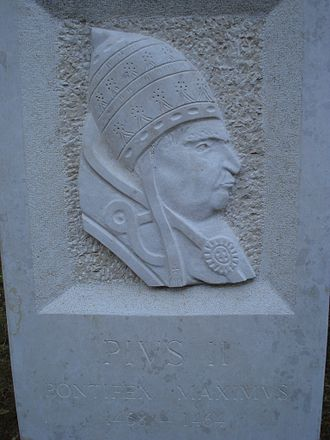 Pope Pius II - Monument of Pius II located in Otočac, Croatia
