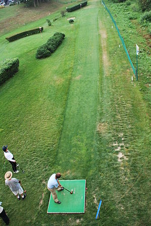 Park golf - A player about to swing at a park golf course in Eniwa, Hokkaido.