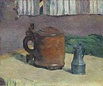 Paul Gauguin - Still Life, Wood Tankard and Metal Pitcher - 1999.362 - Art Institute of Chicago.jpg