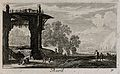People near a large ruin; representing April. Etching by G. Wellcome V0007628ETR.jpg