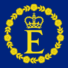 Capital letter E surmounted by a crown and surrounded by a wreath of Tudor roses, in gold on a blue background