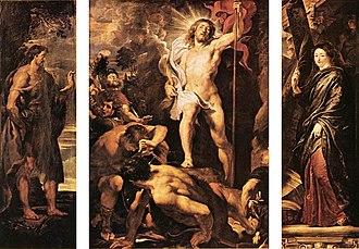 Resurrection (Rubens, Antwerp) - The triptych depicting the Resurrection.