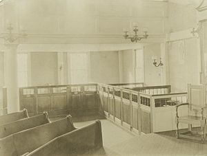 Meeting house - Sheep-pen pews, Old Ship Meeting house, Hingham, Massachusetts, ca. 1880