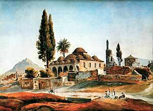 Fethiye Mosque (Athens) - The mosque in the 1830s, with the Tower of the Winds in the background